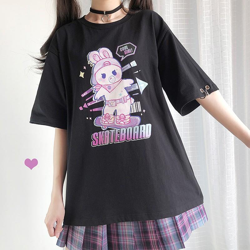 【CW】スケボーラビットプリントTシャツ◆トップス Tシャツ ワンサイズ