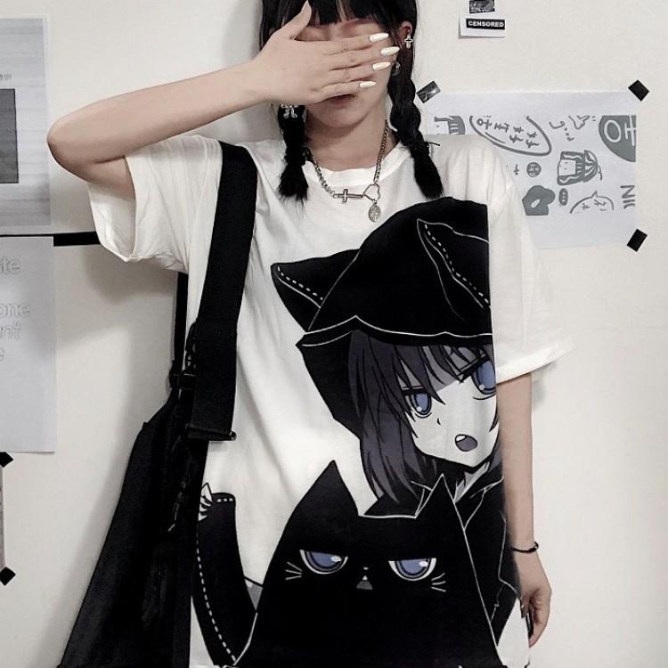 イラストプリントTシャツ黒猫ver◆トップス Tシャツ S、M、L、XL、XXL