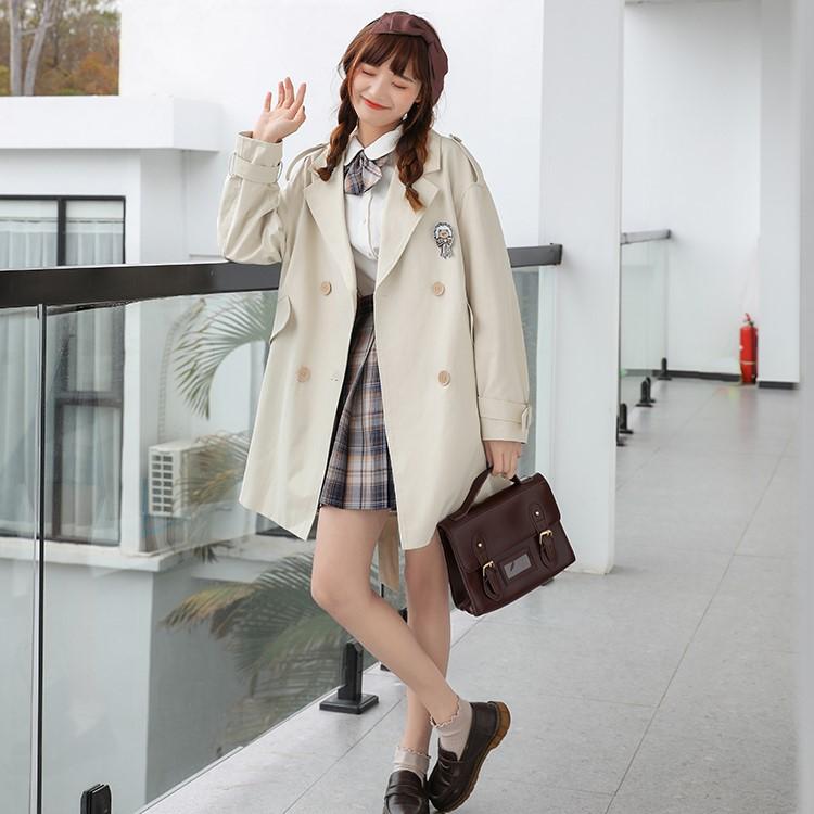 【BYJ】 ミドル丈ダブルブレストスプリングコート◆アウター S、M、L