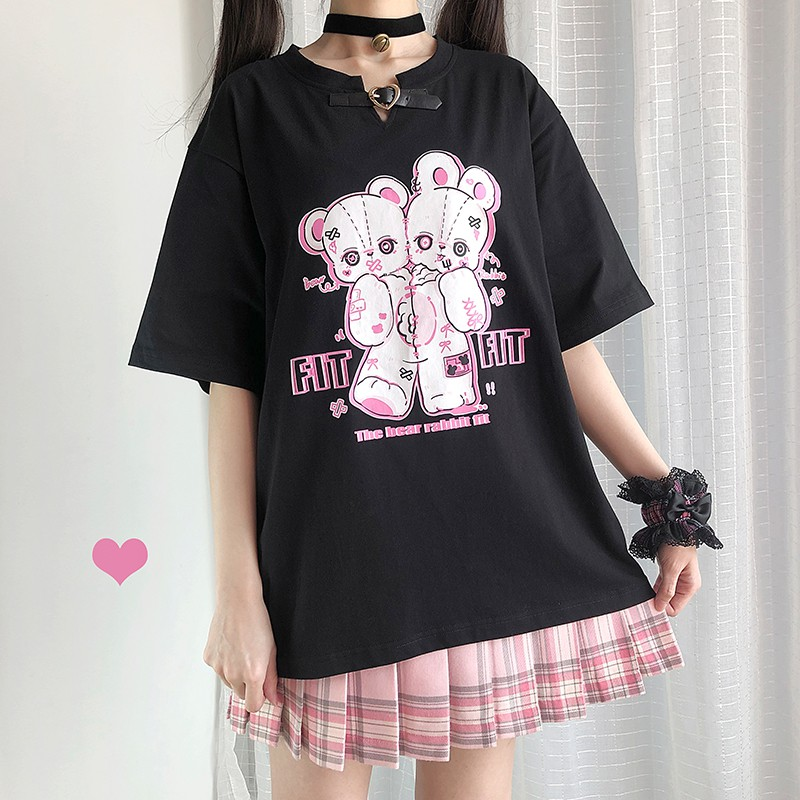【CW】レザーバックルフィットベアプリントTシャツ◆トップス Tシャツ ワンサイズ