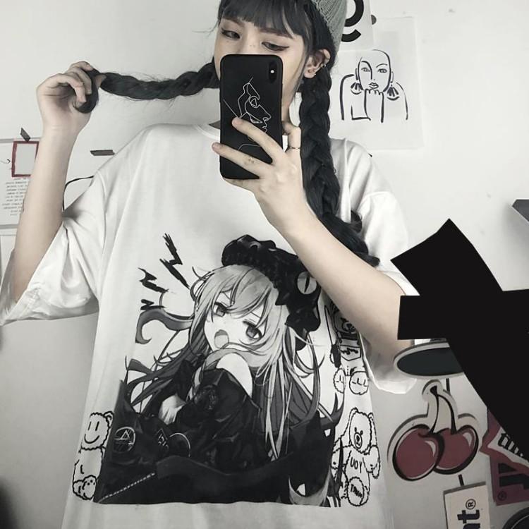 イラストプリントルーズTシャツUOYver◆トップス Tシャツ S、M、L、XL、XXL
