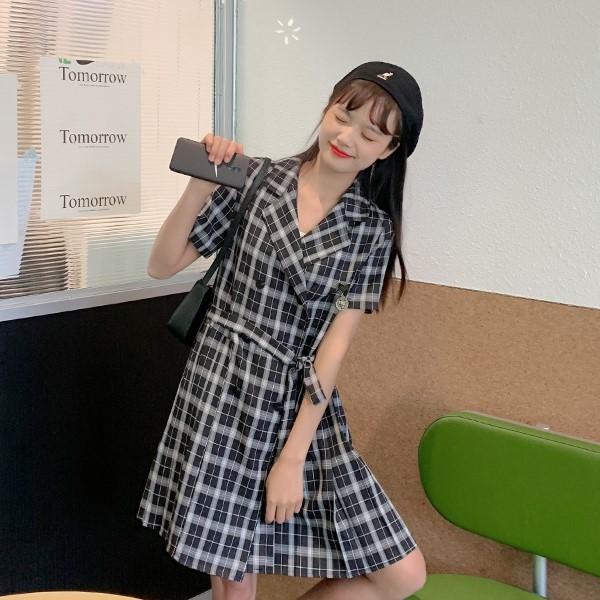 【BYJ】チェック柄ダブルブレストプリーツワンピース◆ワンピース S、M、L