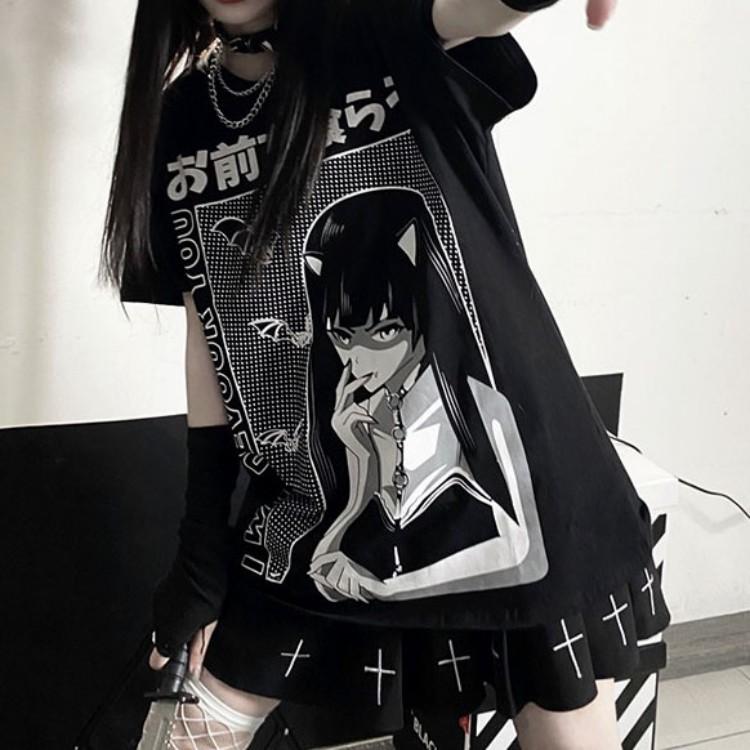 イラストプリントTシャツDEVver◆トップス Tシャツ M、L、XL、XXL