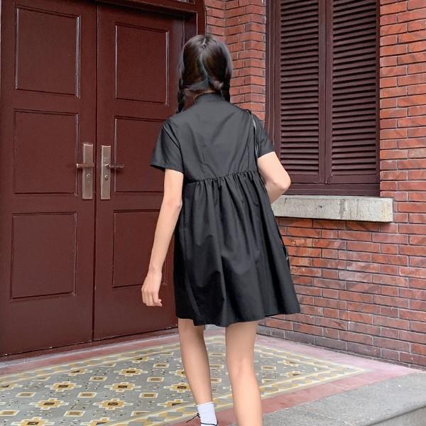 【BYJ】スタンドカラーブラックワンピース◆ワンピース S、M、L