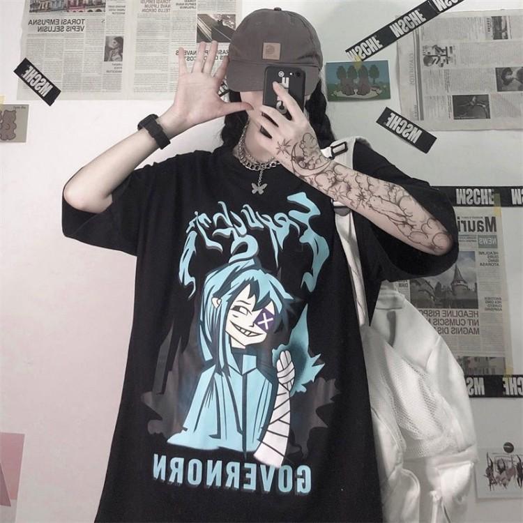 イラストプリントTシャツGOver◆トップス Tシャツ M、L、XL、XXL