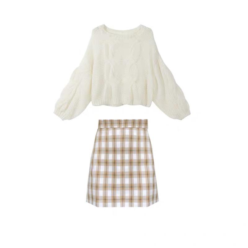 ツイストニットセーター+格子柄スカート◆セットアップ S、M、L、XL