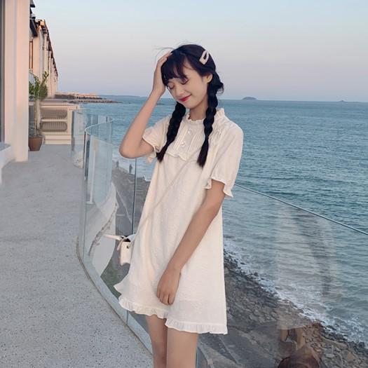 【BYJ】ジャカード織パフスリーブワンピース◆ワンピース S、M、L