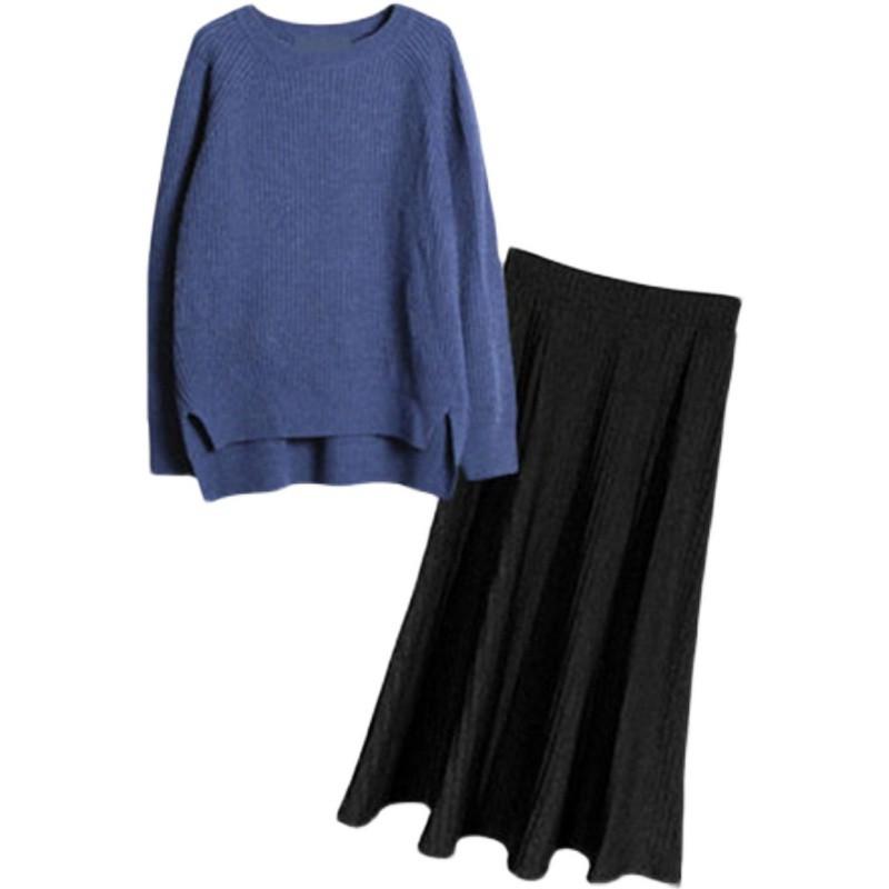 ニットセーター+ミドル丈スカート◆セットアップ S、M、L、XL