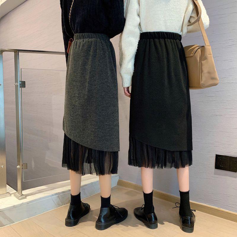 ニット素材ミドル丈スカート◆レディース ボトムス ワンサイズ
