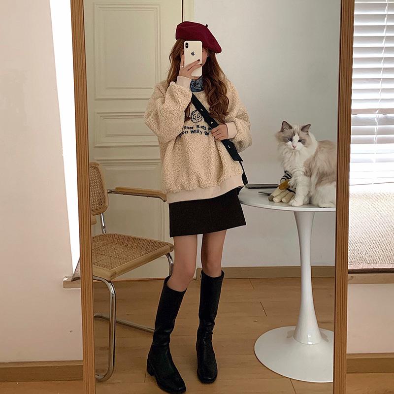 フェイクツーピースウールセーター+スカート◆セットアップ S、M、L、XL