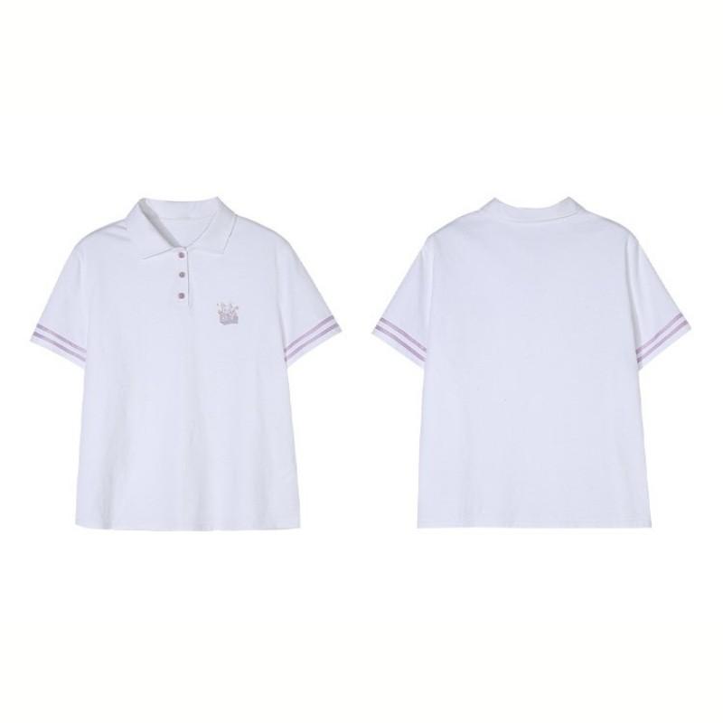 【BYJ】ポロカラーストライプスリーブシャツ◆トップス S、M、L