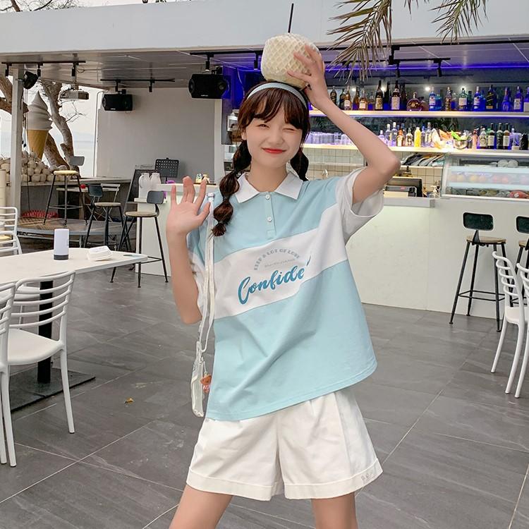 【BYJ】ポロカラールーズコットンシャツ◆トップス S、M、L