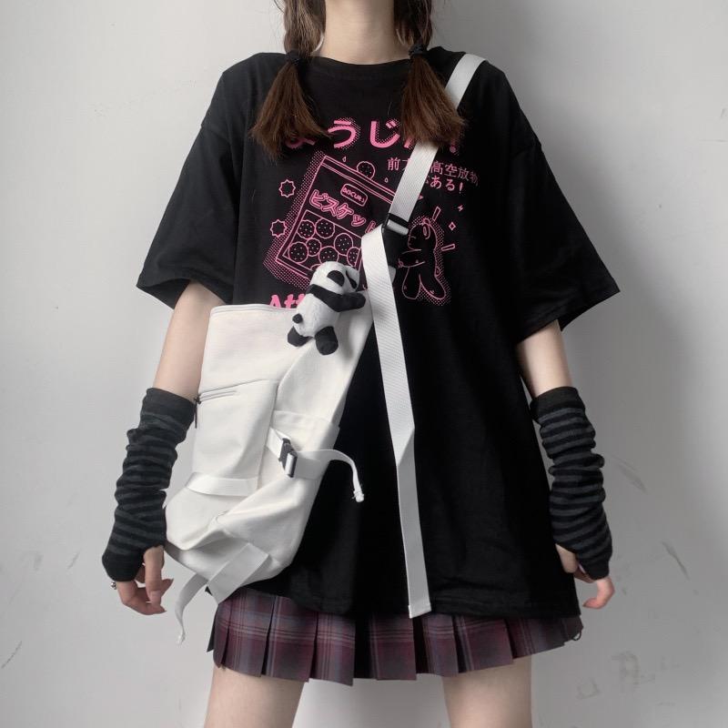 イラストプリントルーズTシャツようじんver◆レディース トップス Tシャツ ワンサイズ