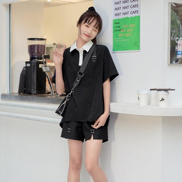 【BYJ】コントラストカラーショルダーベルトシャツ◆トップス S、M、L