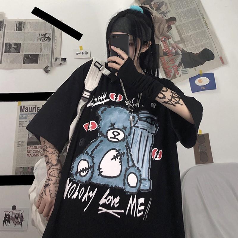 イラストプリントルーズTシャツクマver◆レディース トップス Tシャツ ワンサイズ