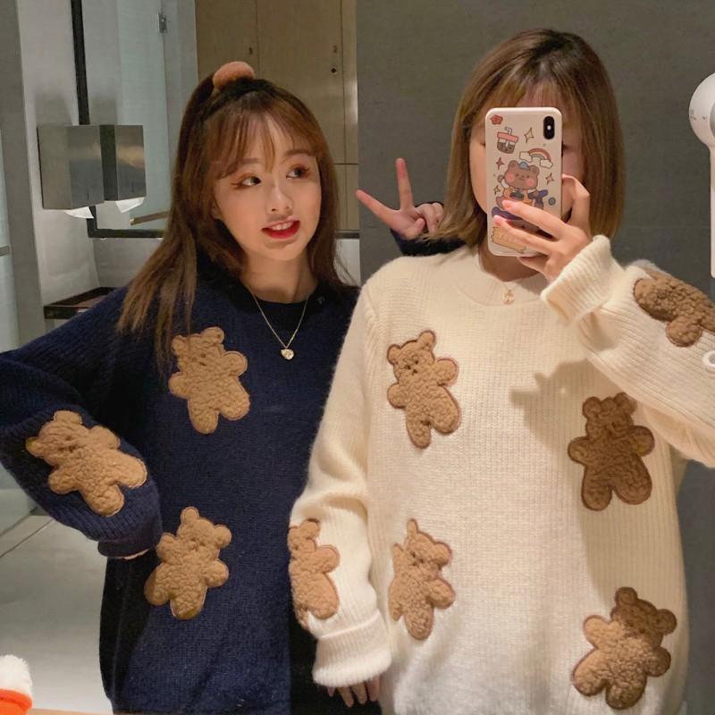 2020秋新作 クマアップリケニットセーター◆レディース トップス ワンサイズ