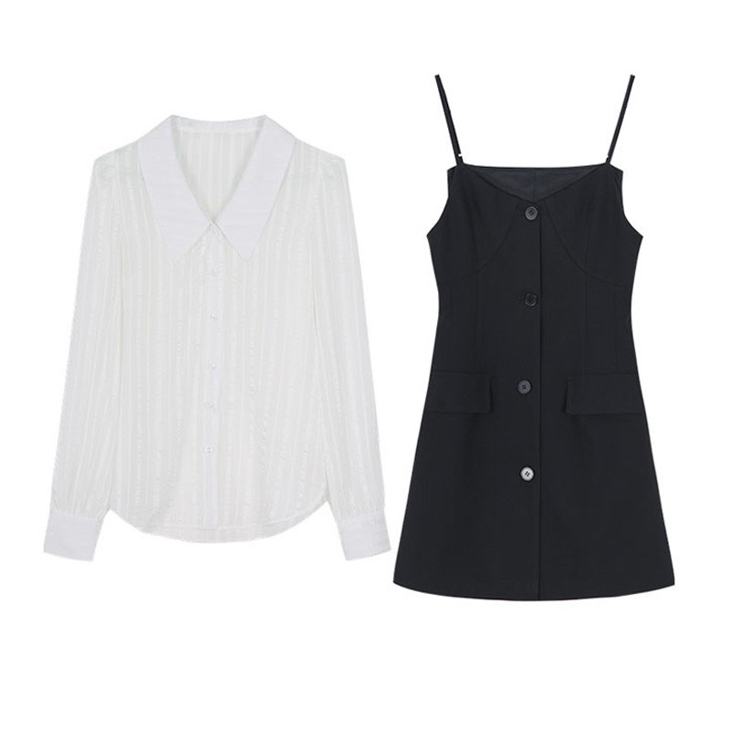 シースルーシャツ+サスペンダースカート◆セットアップ M、L、XL、XXL、XXXL