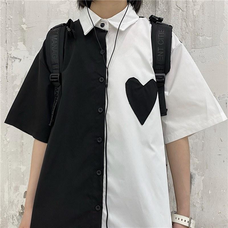モノトーンオーバーサイズシャツ◆トップス M、L、XL