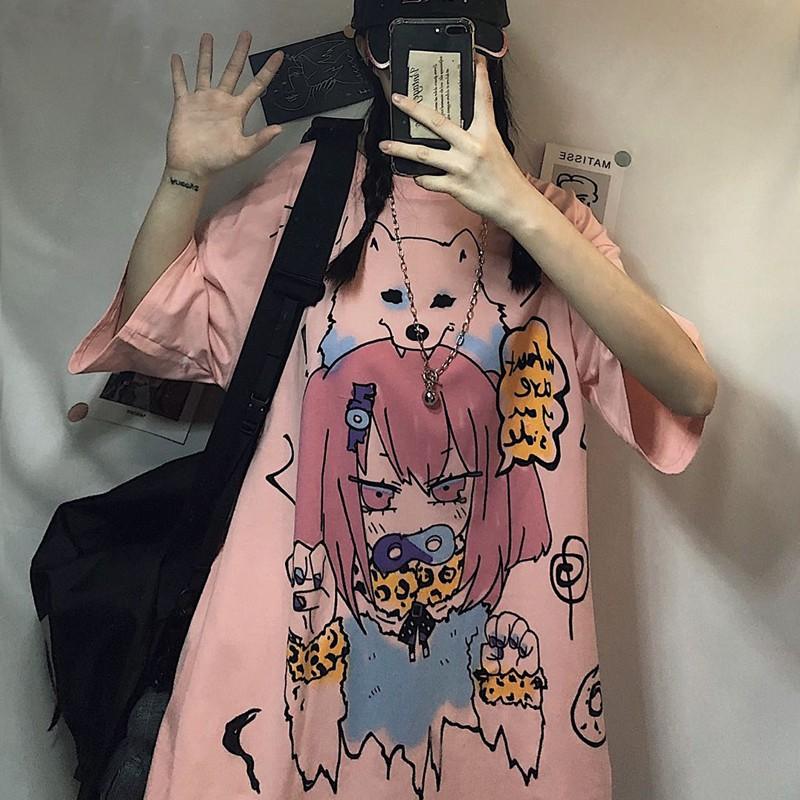 イラストプリントルーズTシャツ狼ver◆レディース トップス Tシャツ M、L