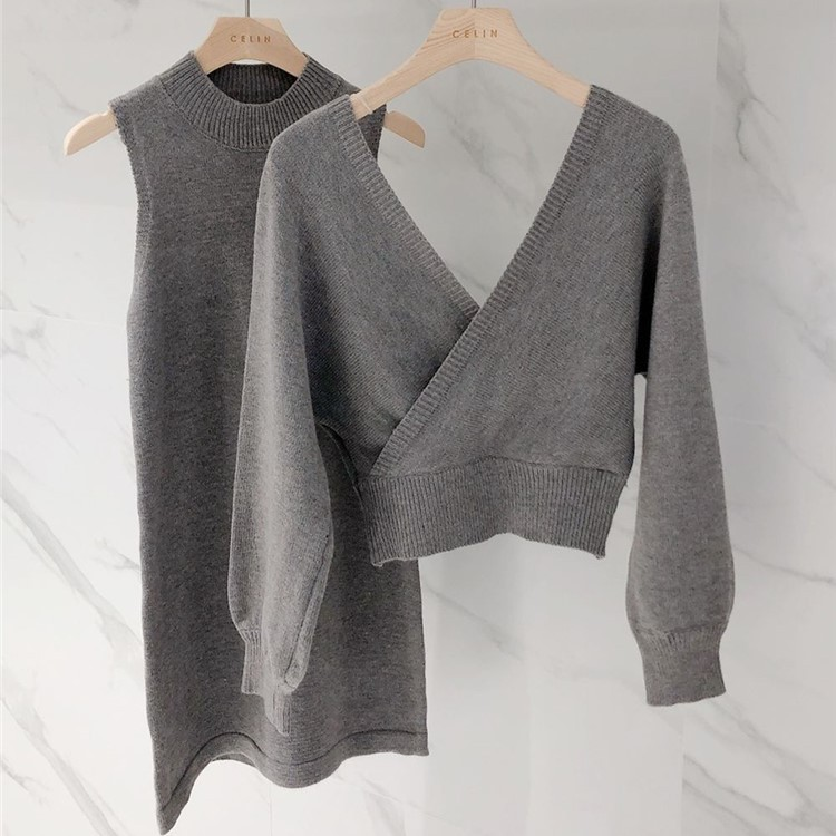 Vネックセーター+ニットワンピース◆セットアップ ワンサイズ