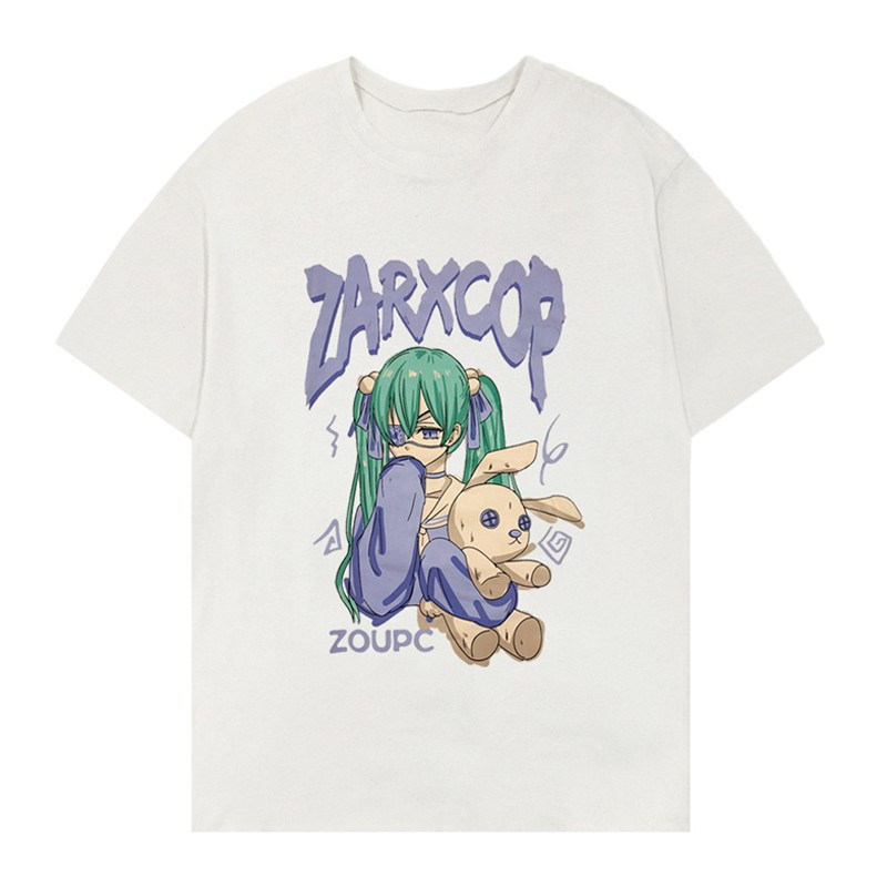 イラストプリントルーズTシャツZウサギver◆トップス Tシャツ M、L、XL