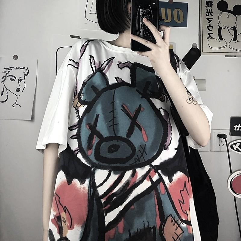 イラストプリントルーズTシャツXクマver◆レディース トップス Tシャツ ワンサイズ