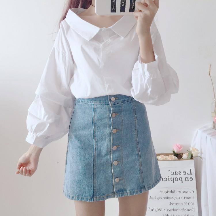 ランタンスリーブドールカラーシャツ◆トップス ワンサイズ