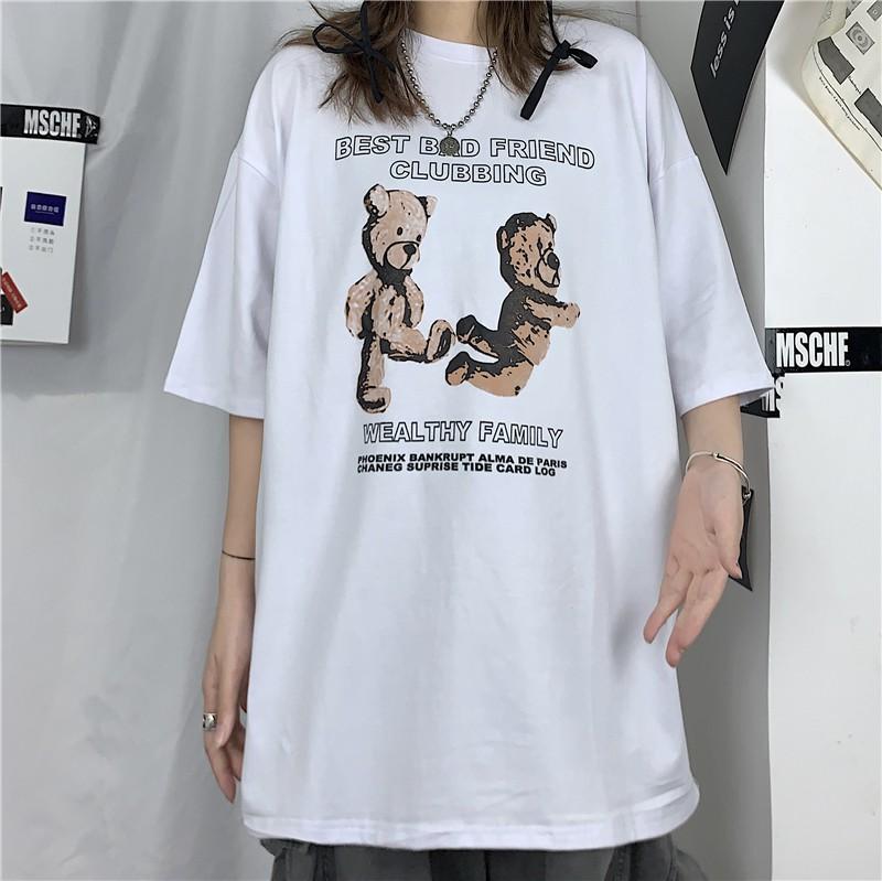イラストプリントルーズTシャツクマキックver◆レディース トップス Tシャツ M、L、XL