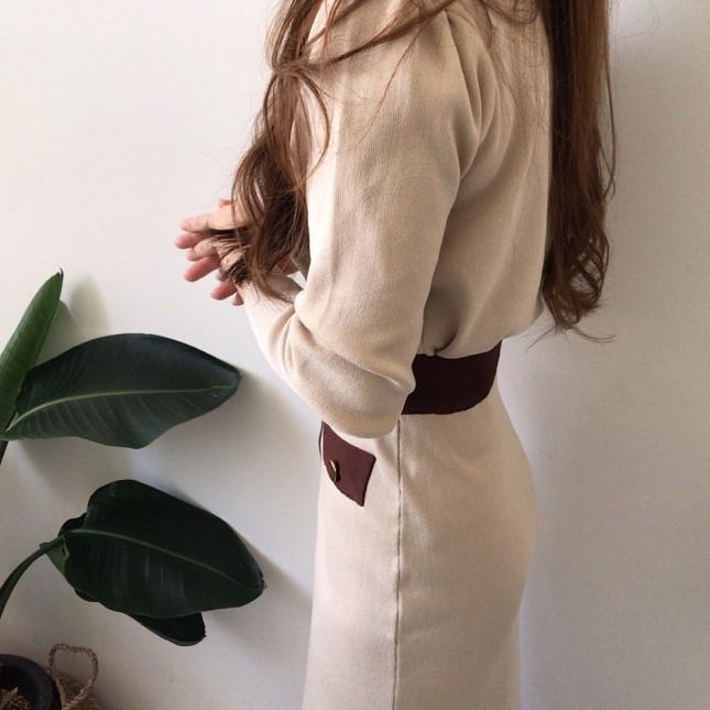 ラウンドネックセーター+ミドル丈スカートセットアップ◆セットアップ ワンサイズ