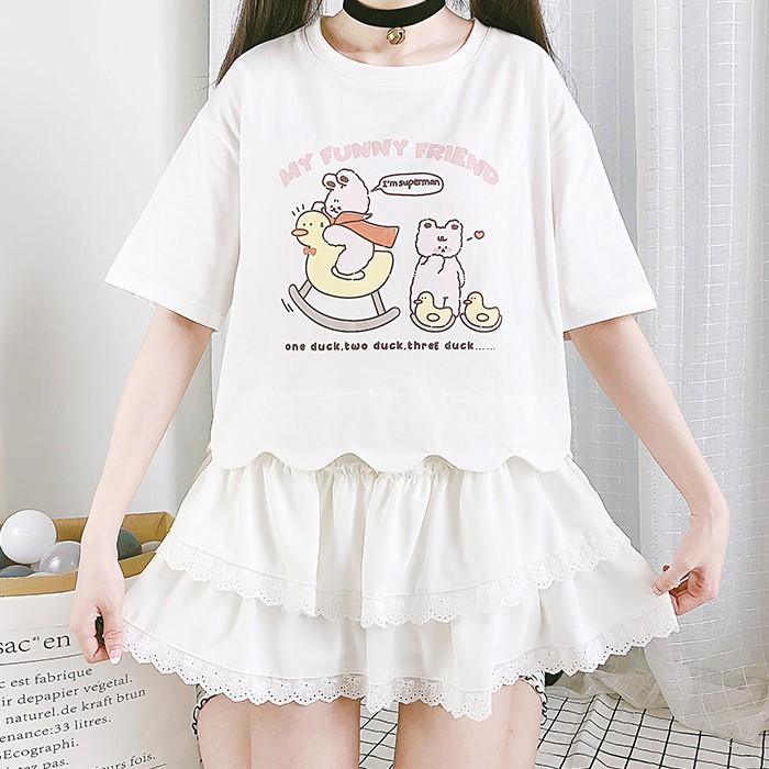 【CW】ショート丈ロッキングダックプリントTシャツ◆トップス Tシャツ ワンサイズ
