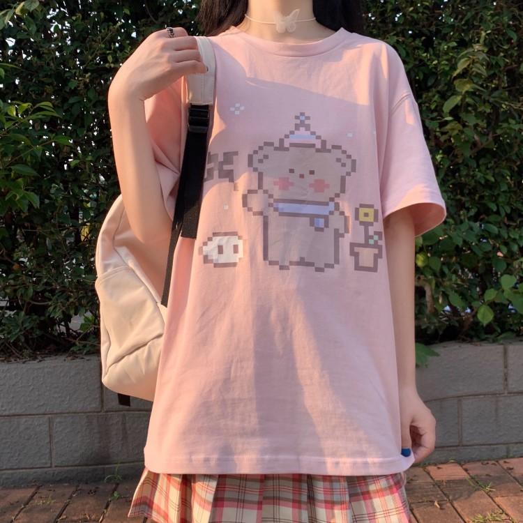 イラストプリントTシャツドットくまver◆レディース トップス M、L、XL、XXL