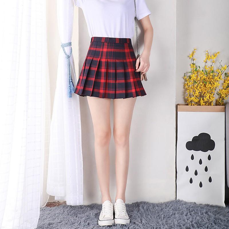 インナー付きプリーツスカートチェック柄(1)◆レディース ボトムス XS、S、M、L、XL、XXL、XXXL
