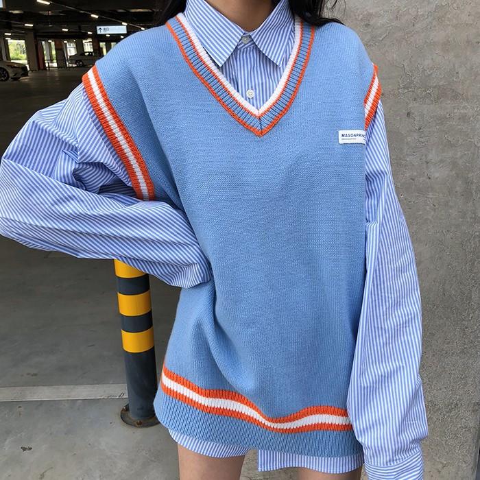 スクールベスト&ビッグシャツ◆レディース セットアップ S、M、L、XL、XXL