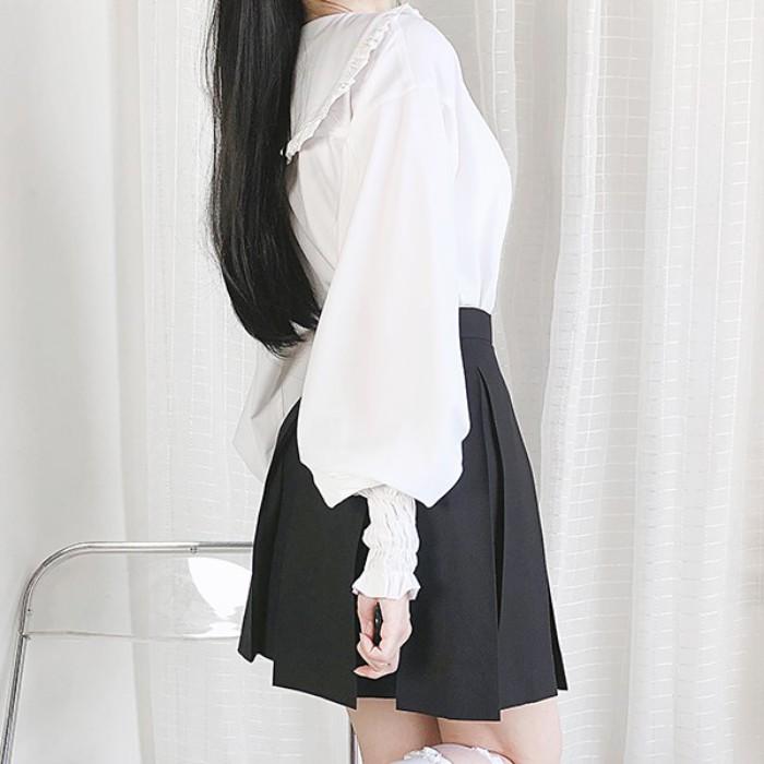 【CW】ネイビーカラーパフスリーブシャツ◆トップス ワンサイズ