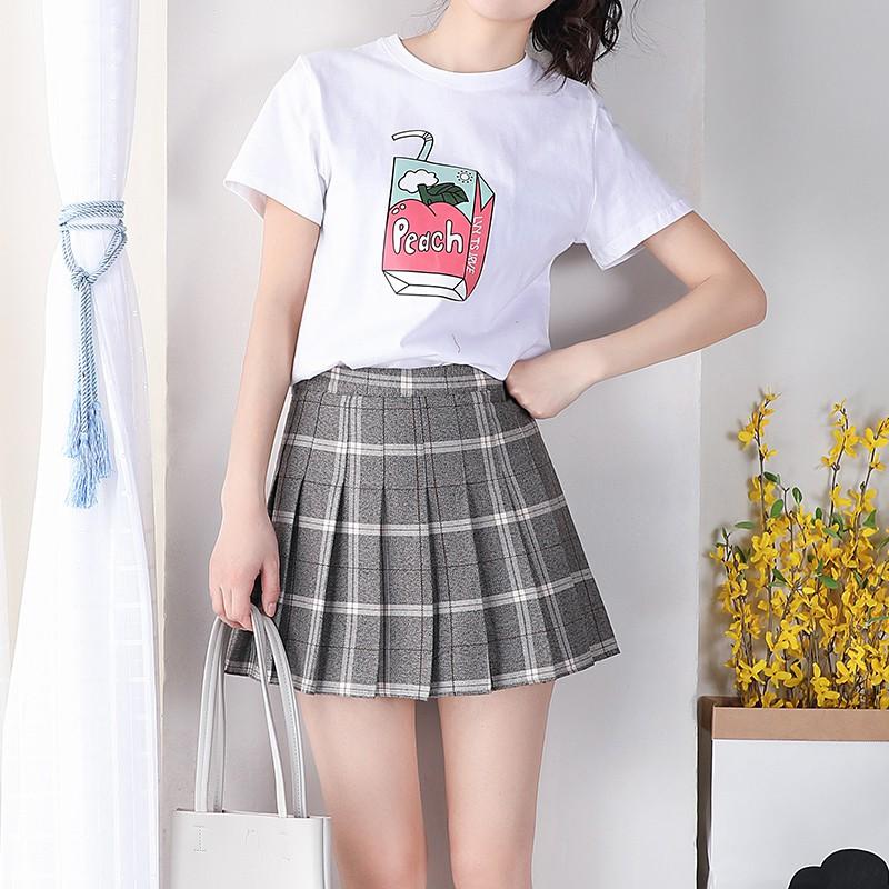 インナー付きプリーツスカートチェック柄(3)◆ボトムス XS、S、M、L、XL、XXL、XXXL