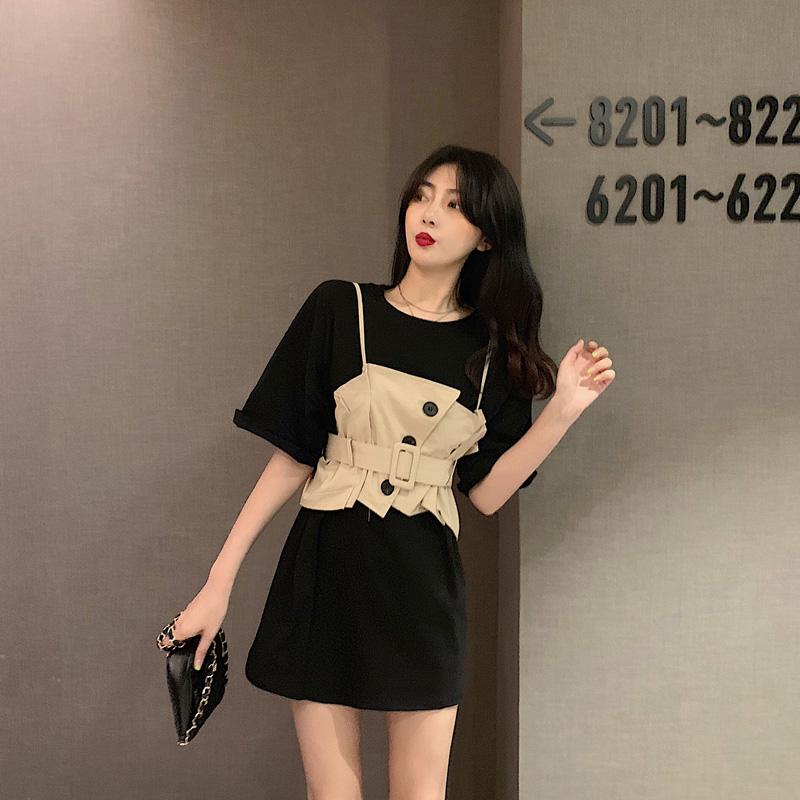ビスチェ付きビッグTシャツ◆セットアップ S、M、L、XL