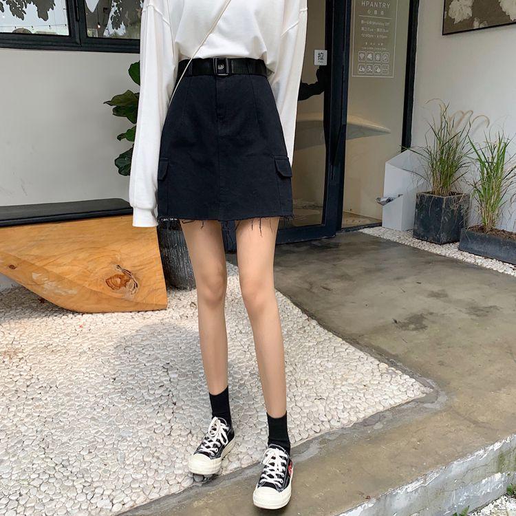 ベルト付きAラインスカート◆レディース ボトムス S、M、L