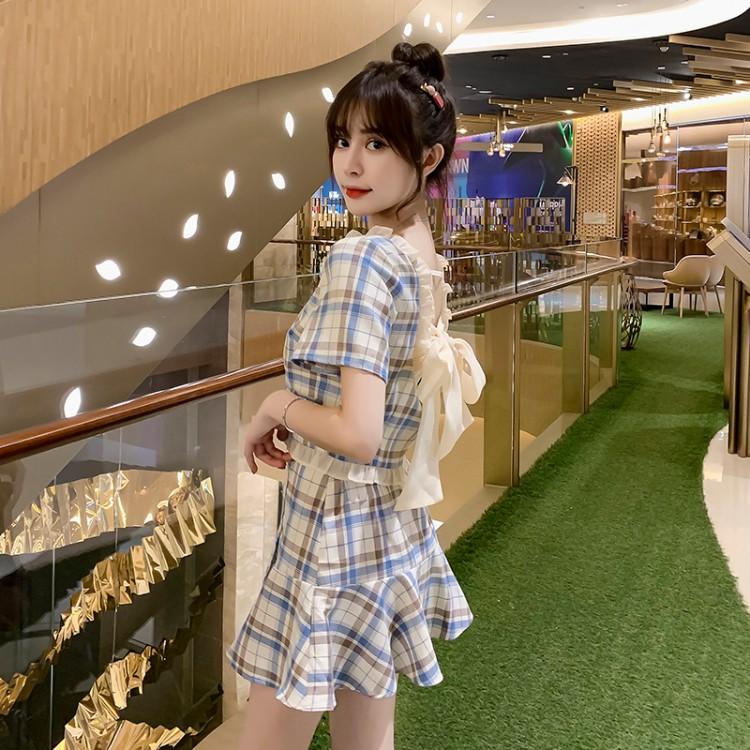 チェック柄バックリボントップ+フィッシュテールスカート◆セットアップ S、M、L、XL
