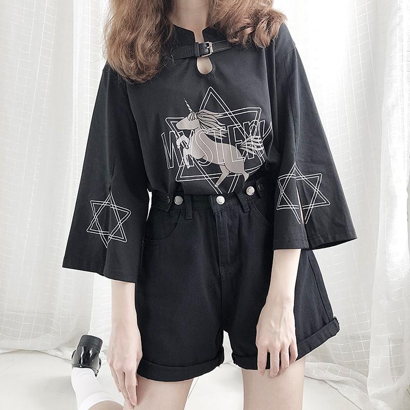【CW】レザーバックル七分袖ユニコーンプリントTシャツ◆トップス Tシャツ ワンサイズ