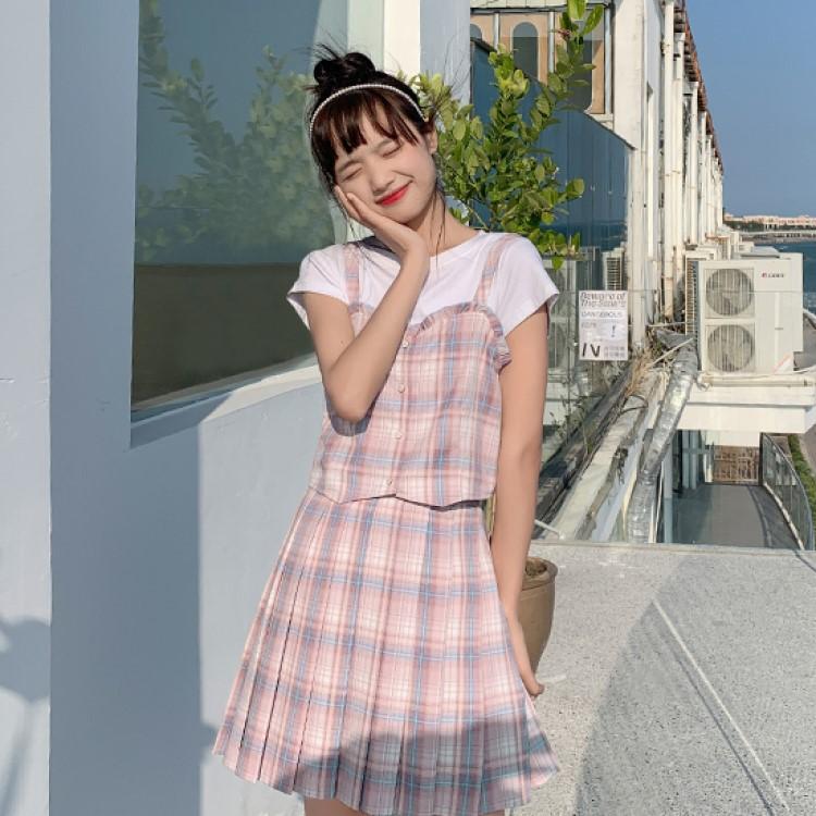 【BYJ】チェック柄キャミソールトップ+プリーツスカート◆セットアップ S、M、L