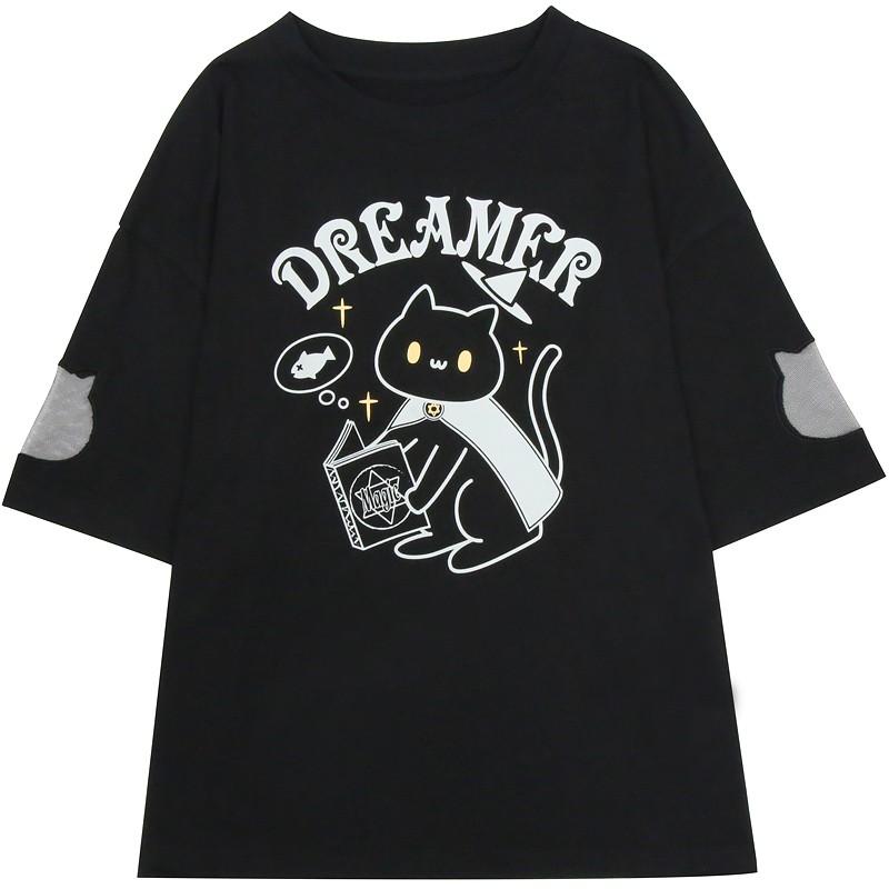 【CW】メッシュステッチマジックキャットTシャツ◆トップス Tシャツ ワンサイズ