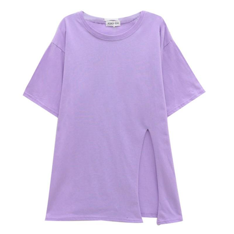 スリット入りロングTシャツ◆レディース トップス Tシャツ ワンサイズ