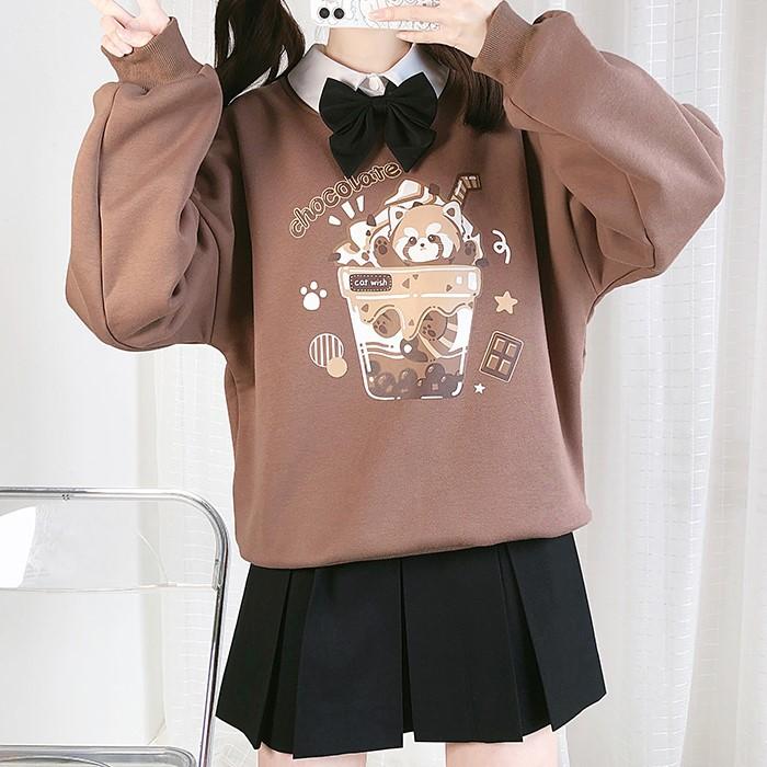 【CW】ラウンドネックチョコレートパンダトレーナー◆トップス ワンサイズ