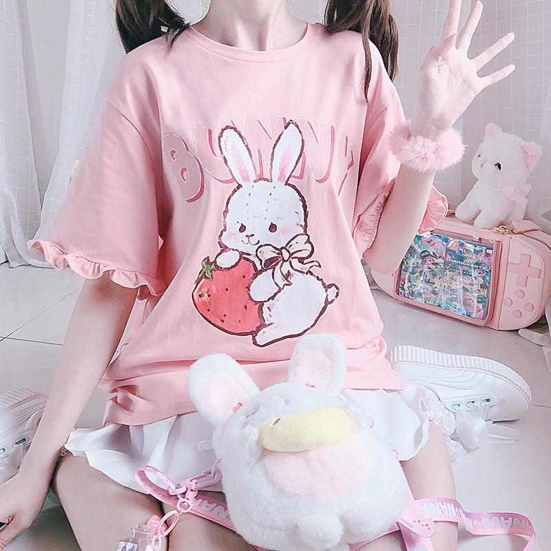 【CW】ミドル丈ストロベリーラビットTシャツ◆トップス Tシャツ ワンサイズ