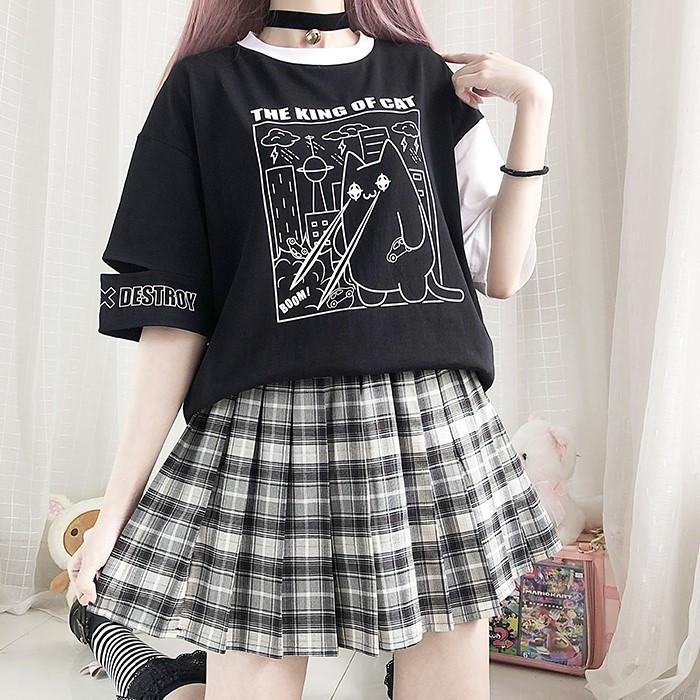 【CW】アシンメトリー破壊猫Tシャツ◆トップス Tシャツ ワンサイズ