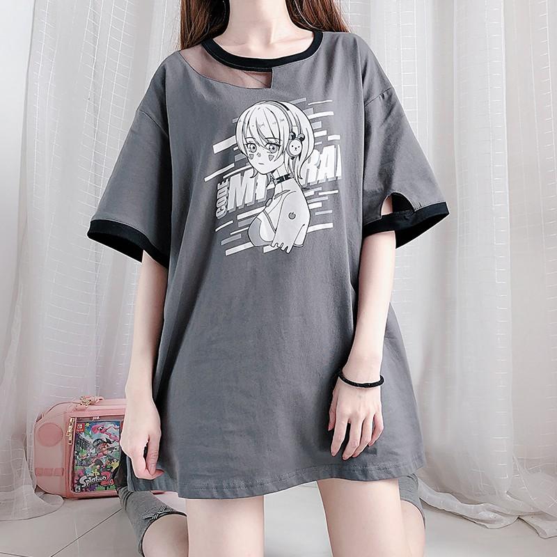 【CW】アシンメトリー未来少女ロングTシャツ◆トップス Tシャツ ワンサイズ