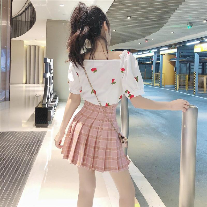 フルーツ柄シャツ+プリーツスカート ツーピース◆レディース セットアップ S、M、L