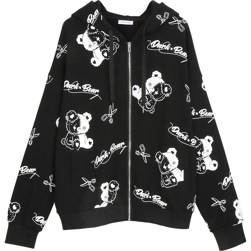 【CW】イラストプリントジャケットシザースベア◆アウター パーカー ワンサイズ