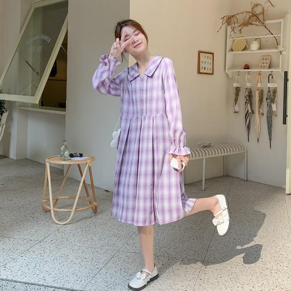 【BYJ】パープルレトロチェックパフスリーブワンピース◆ワンピース S、M、L