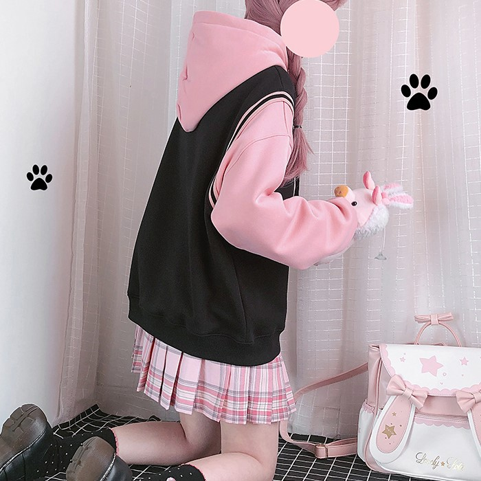 【CW】フェイクツーピースイラストプリントパーカー猫◆トップス パーカー ワンサイズ